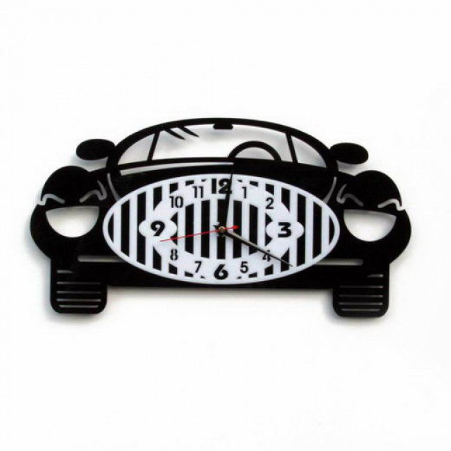 Model Of A Clock In The Shape Of A Car For Laser Cutting Free CDR Vectors Art