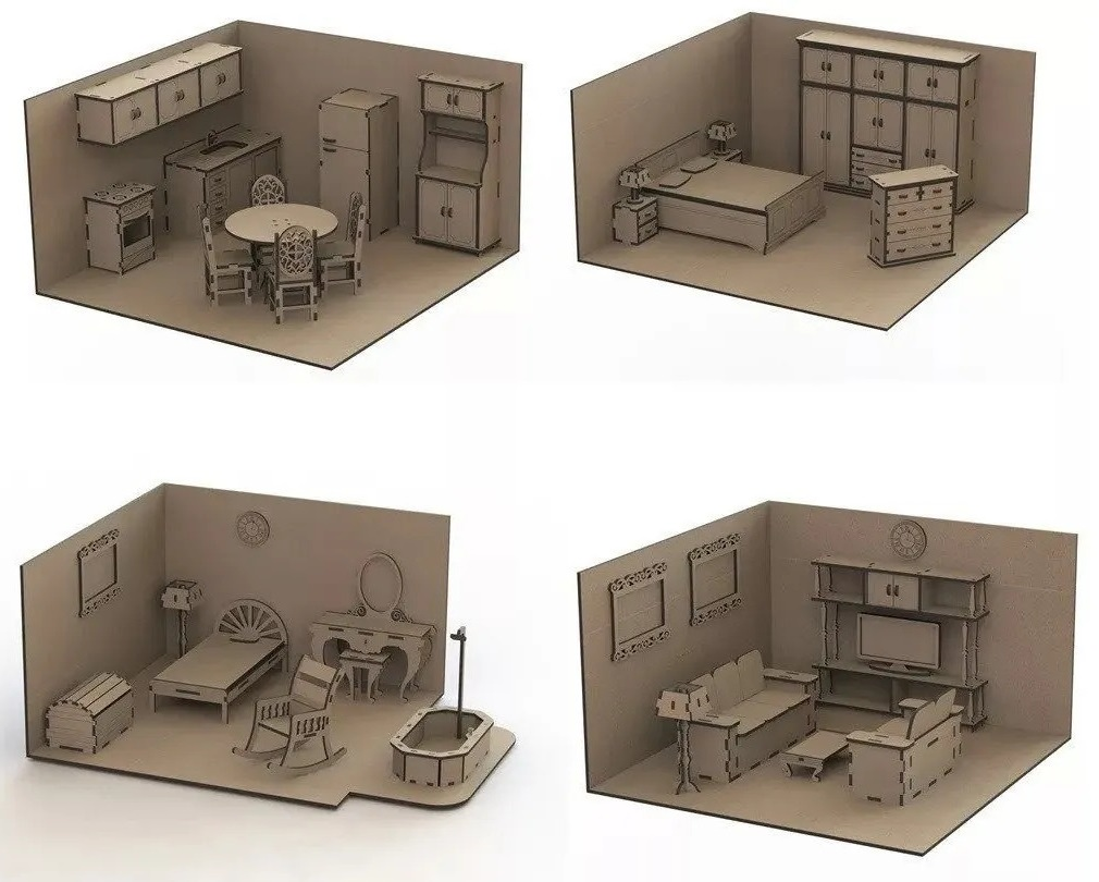 Laser Cut Dollhouse Kit Mini Furniture Free CDR Vectors Art