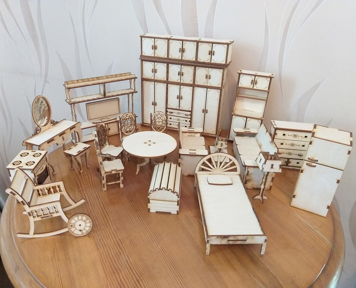 Miniature Dollhouse Furniture Set For Laser Cutting Free CDR Vectors Art