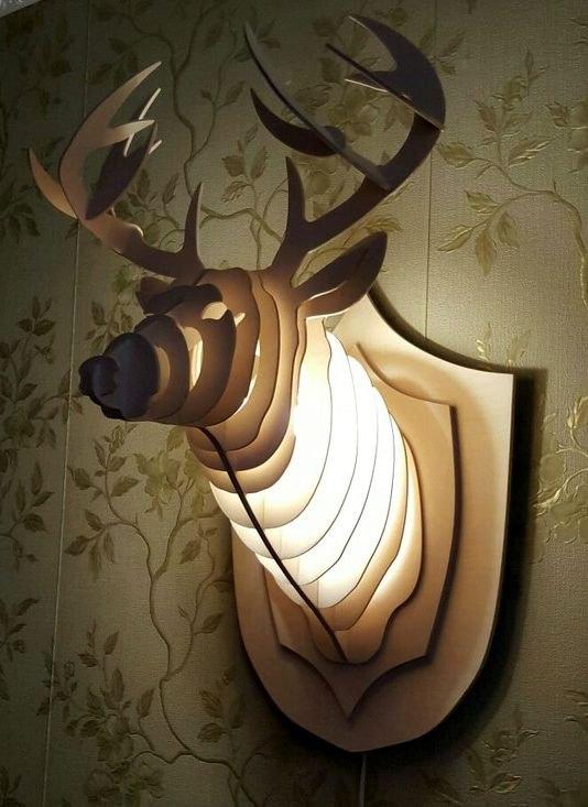 Laser Cut Wooden Light Decorative Deer Head Free CDR Vectors Art