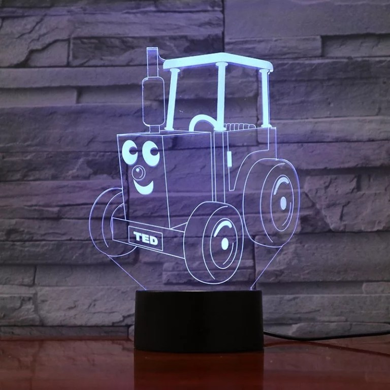 Tractor Ted 3d Optical Illusion Led Lamp Hologram For Laser Cutting Free CDR Vectors Art