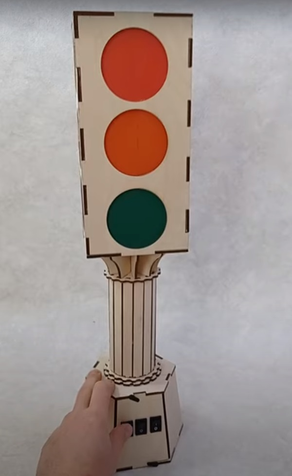 Traffic Light Toy For Laser Cutting Free CDR Vectors Art