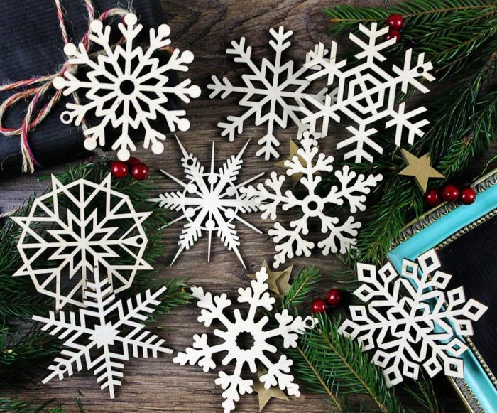 Laser Cut Wood Snowflake Ornaments Tree Hanging Decorations Free CDR Vectors Art
