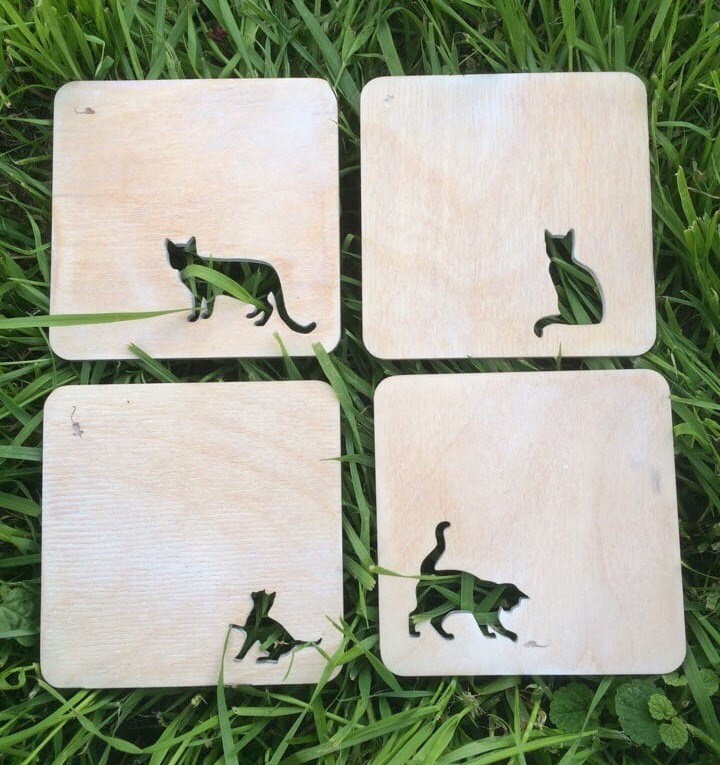 Wooden Cat Coasters For Laser Cutting Free DXF File