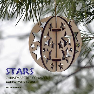 Laser Cut Stars Tree Ball Ornament EPS Vector