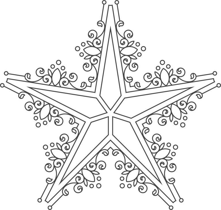 Ornament Star For Laser Cutting EPS Vector