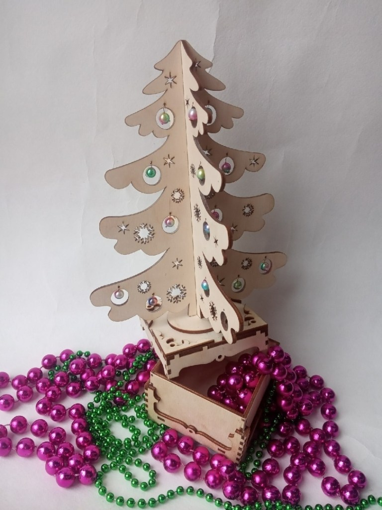 A Festive Box With A New Year Tree For Laser Cutting Free CDR Vectors Art