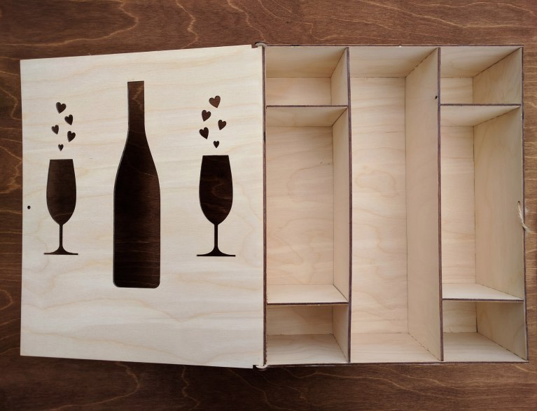 A Box For Wine With Glasses For Laser Cut Free CDR Vectors Art