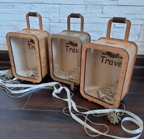 Bank Suitcase Travel Money Box For Laser Cut Free CDR Vectors Art