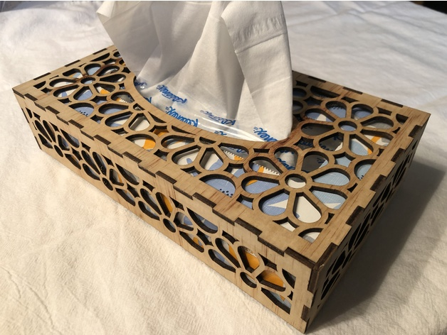 Layout Of Tissue Box 3 For Laser Cut Free DXF File