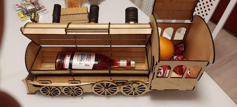Locomotive Or Train Engine Wine Bottle Holder Gift Box For Laser Cut Free DXF File