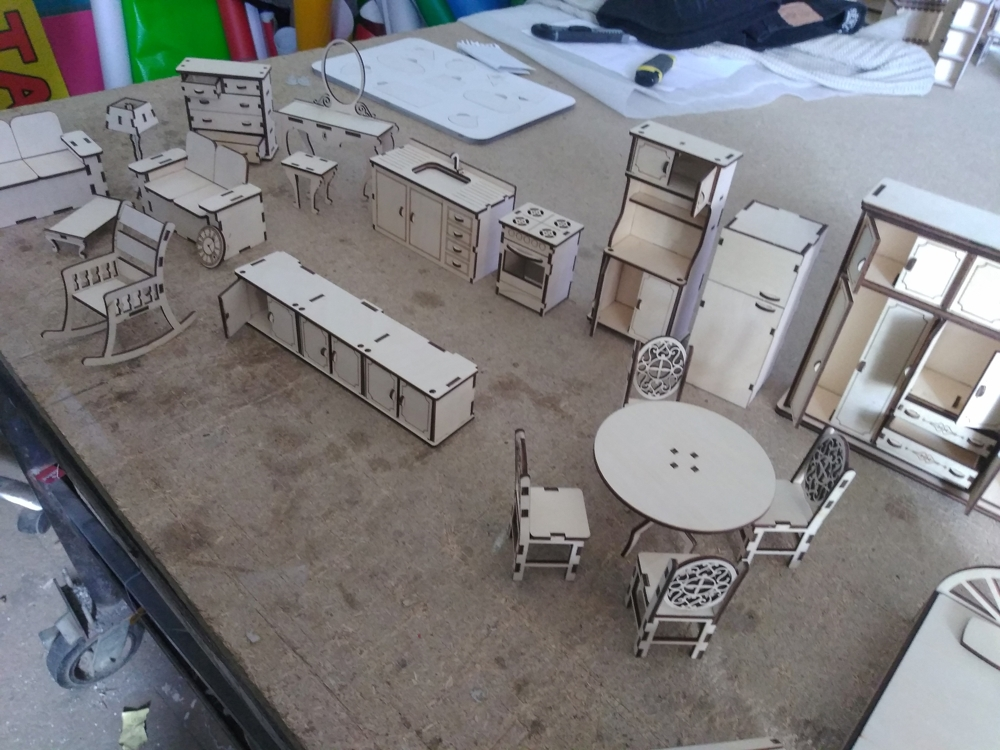 Dollhouse Furniture Wooden For Laser Cutting Free DXF File