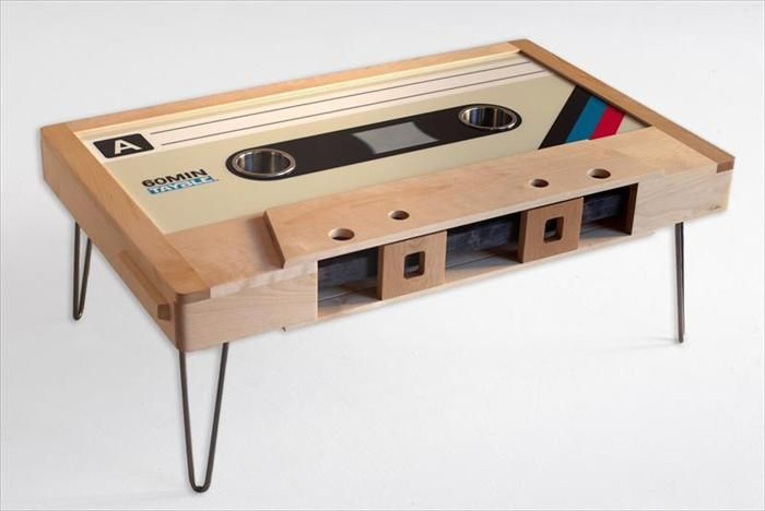 Laser Cut Wooden Cassette Tape Coffee Table Free CDR Vectors Art