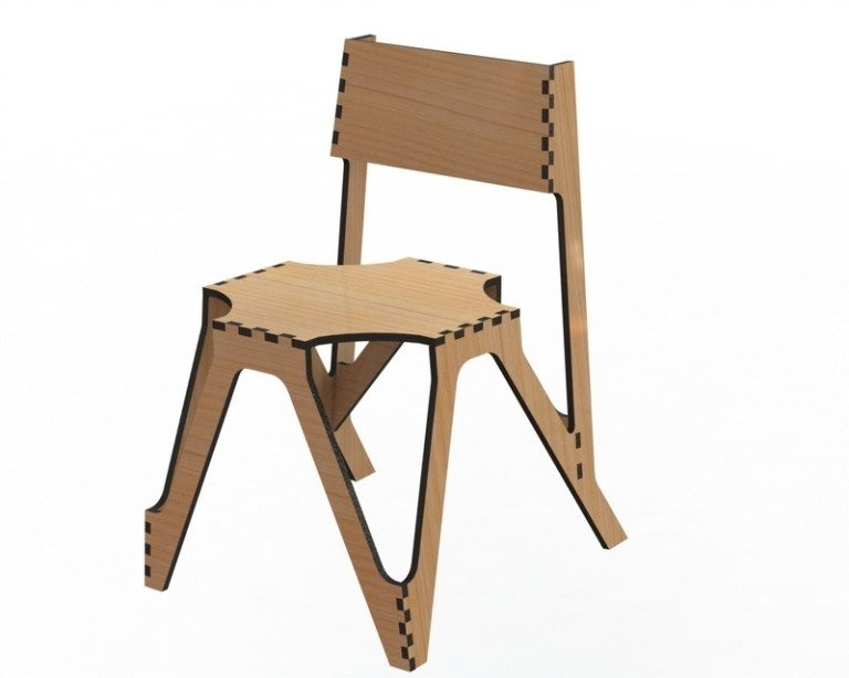 Layout Of Wooden Chair 3 For Laser Cut Free DXF File