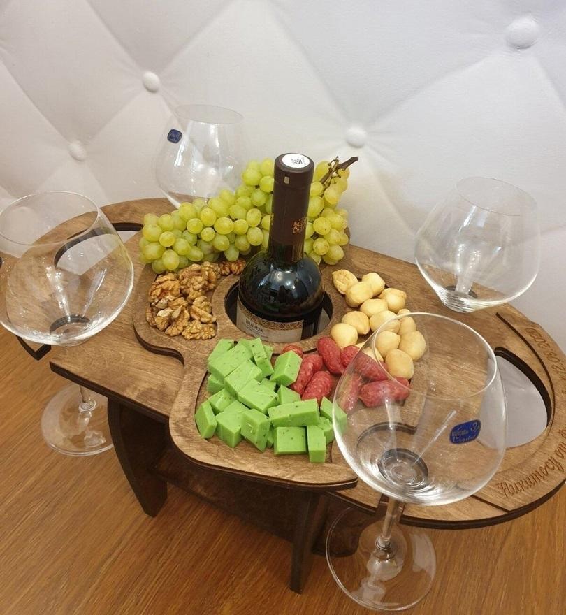 Wine Bottle Glass Holder Wine Table For Laser Cutting Free CDR Vectors Art