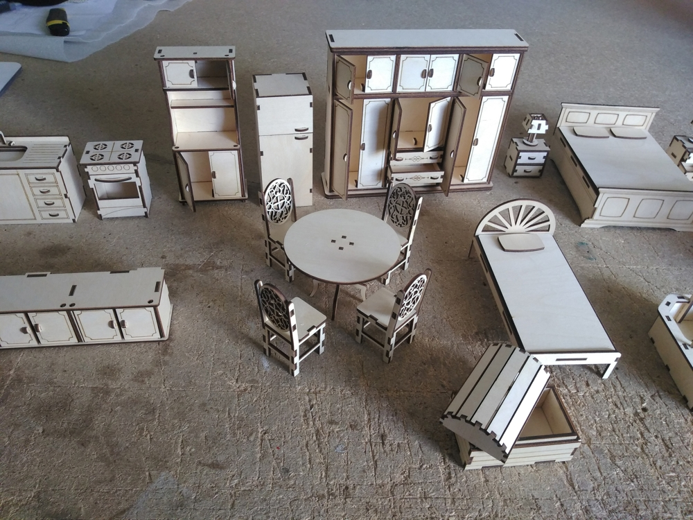 Wooden Doll House Furniture Set For Laser Cutting Free DXF File