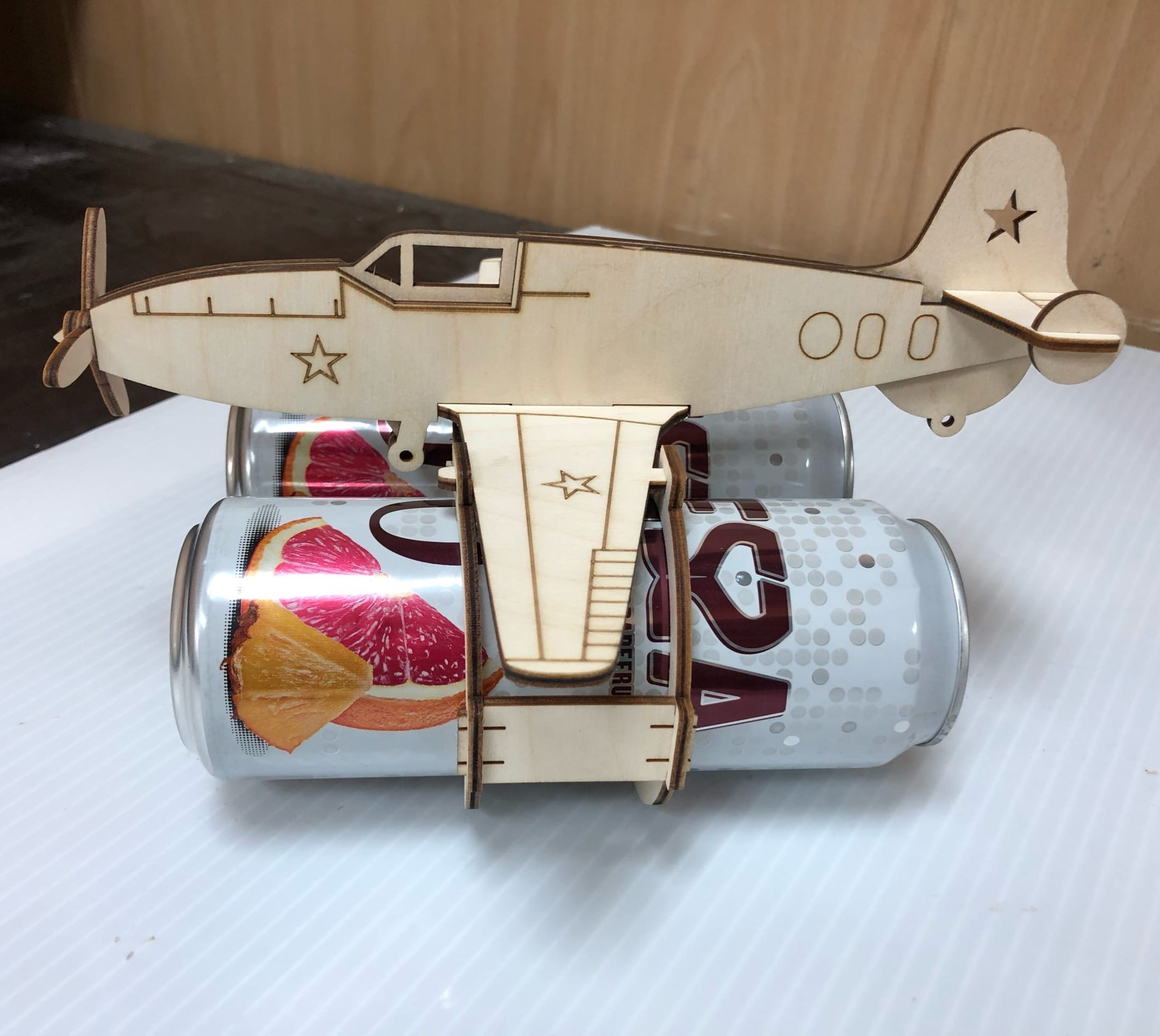 Airplane Beer Can Holder For Laser Cutting Free CDR Vectors Art