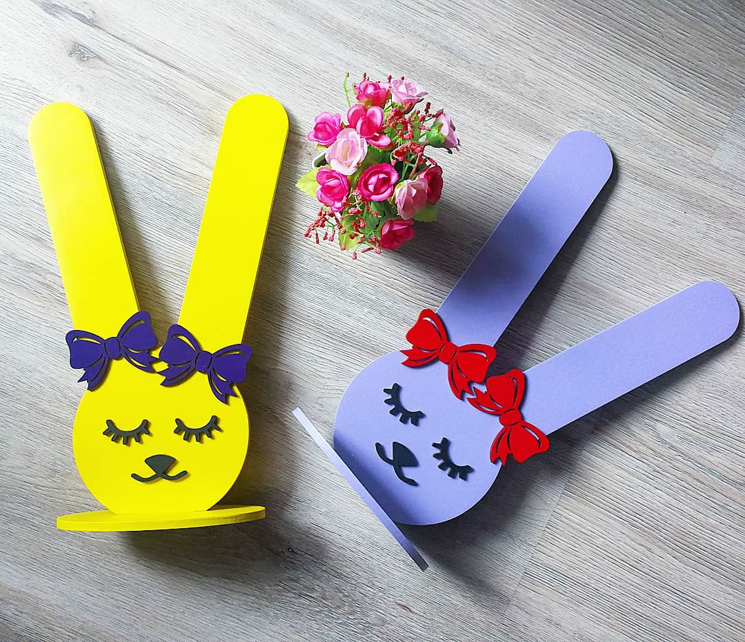 Bunny Rubber Band Holder For Laser Cutting Free CDR Vectors Art