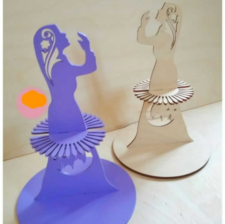 Layout Of Muslim Girl Napkin Holder For Laser Cutting Free CDR Vectors Art
