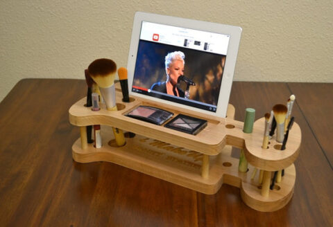 Organizer For Ladies Makeup Kit Ipad Stand Pen Holder Template For Laser Cut Free CDR Vectors Art