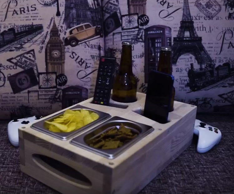 Couch Drink Holder Tv Room Refreshment Tray For Laser Cut Free DXF File