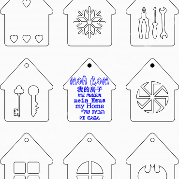 Keychains Houses Layout For Laser Cut Free CDR Vectors Art