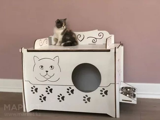 Layout Of Cat House For Laser Cut Free CDR Vectors Art