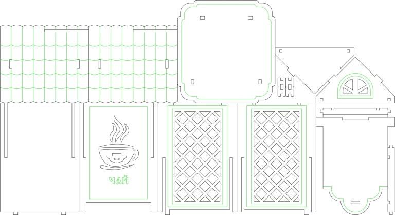 Tea House Layout 3 For Laser Cut Free CDR Vectors Art