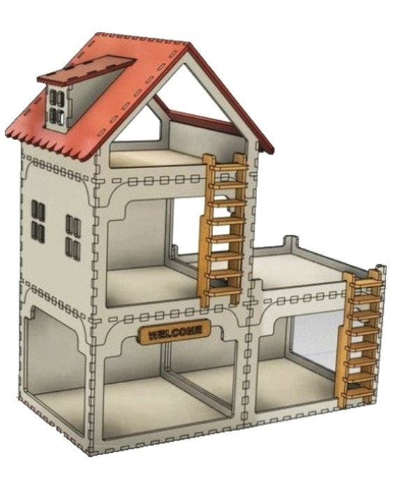 House For Laser Cutting Free DXF File