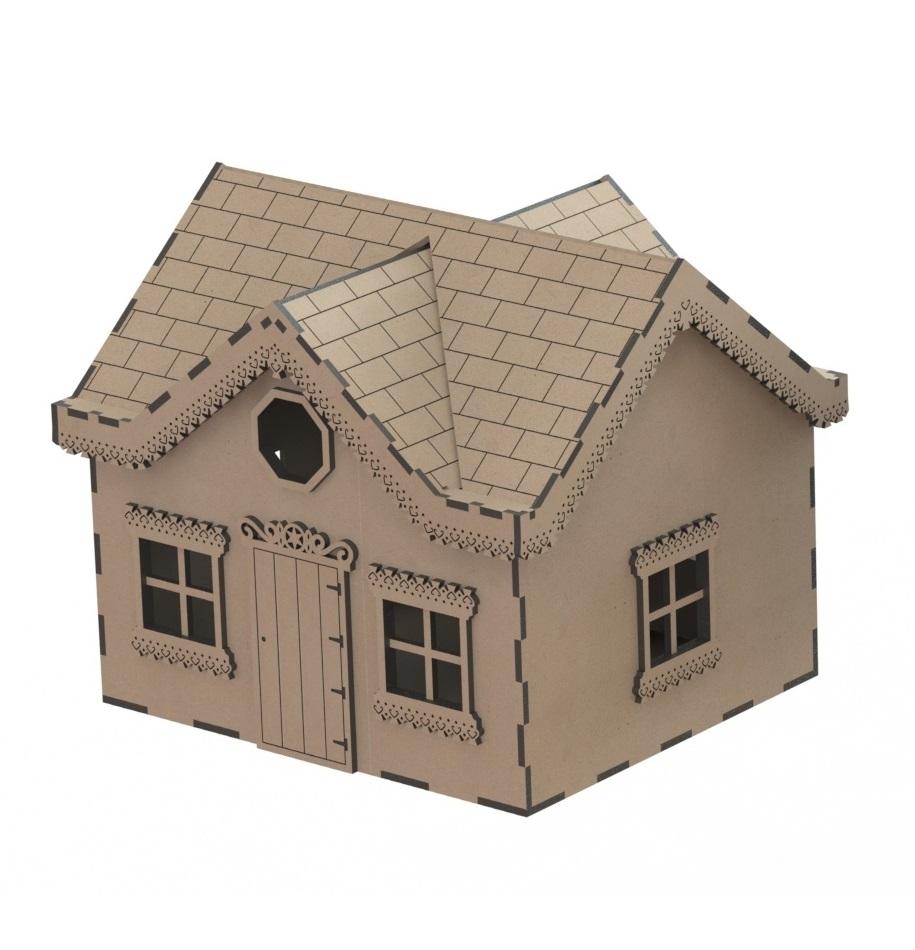 Laser Cut Wooden House Villa Model Kit Wooden Western House Free DXF File