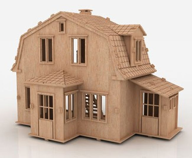 Wooden House 3 Mm For Laser Cut Free DXF File