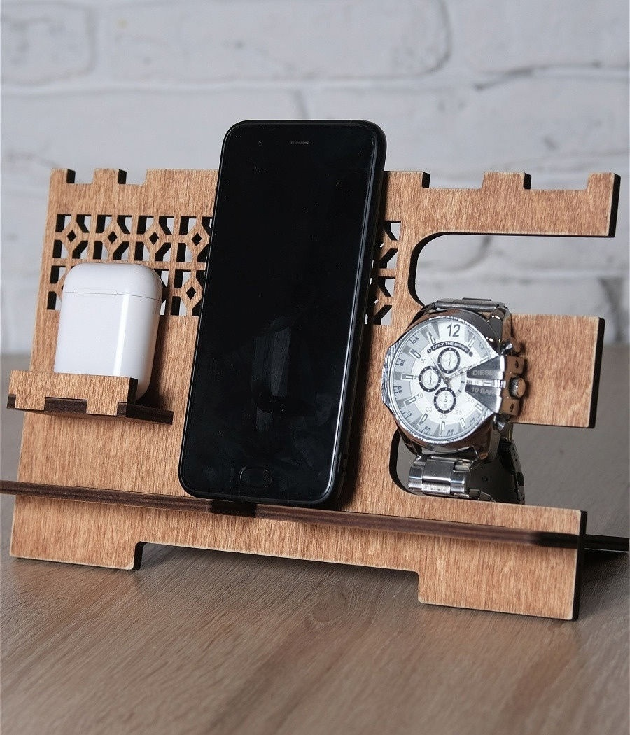 Cell Phone Stand Wooden Docking Station For Laser Cutting Free CDR Vectors Art