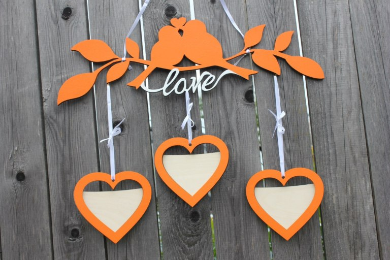 Photo Frame Hearts With Birds Layouts For Laser Cut Free CDR Vectors Art