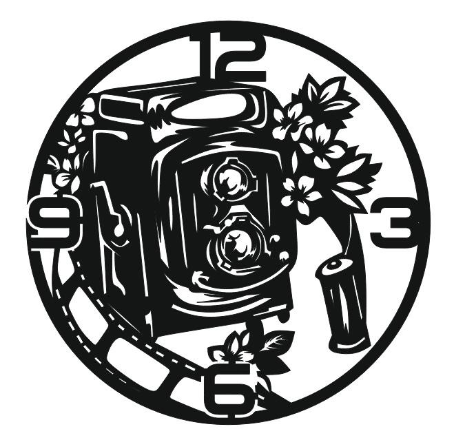 Photographers Wall Clock Camera Clock For Laser Cut Free CDR Vectors Art