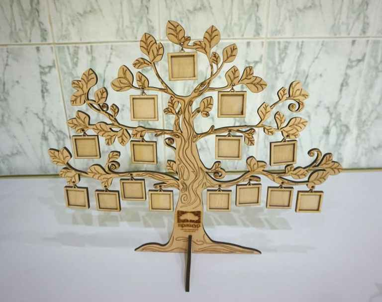 Tree With Mini Frames For Laser Cutting Free CDR Vectors Art