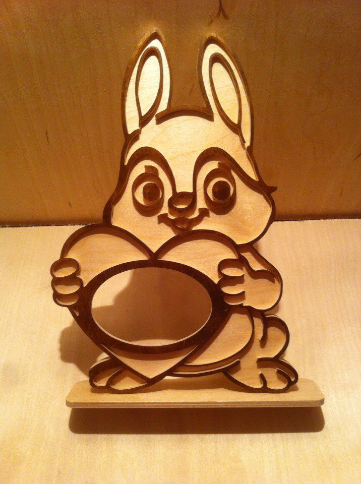 Layout Of Rabbit Photo Frame For Laser Cutting Free DXF File