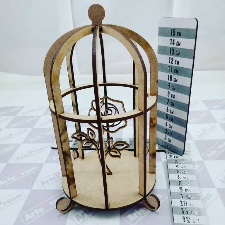 Bird Decoration Cage With Flower Laser Cut Free CDR Vectors Art