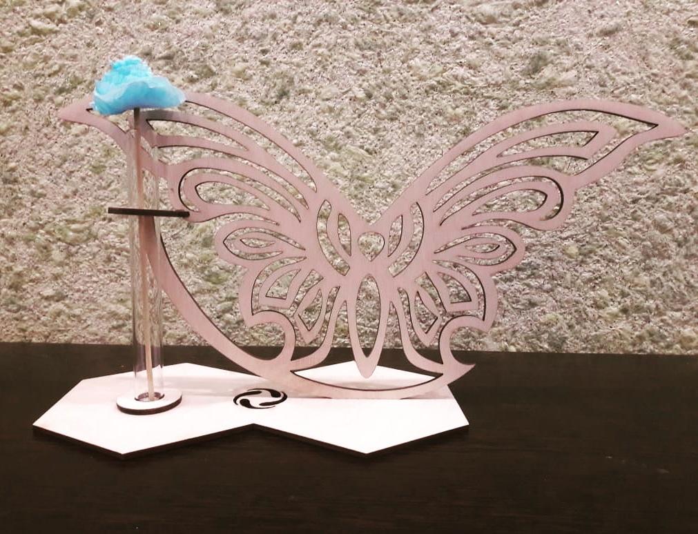 Laser Cut Butterfly Glass Planter Test Tube Flower Pot Free CDR Vectors Art