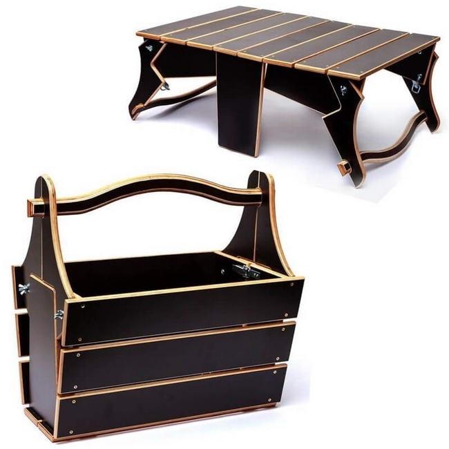 Picnic Table Basket Layout For Laser Cut Free CDR Vectors Art