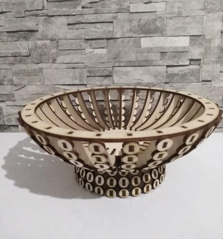 Wooden Candy Bowl Basket Wooden Flower Basket For Laser Cut Free CDR Vectors Art