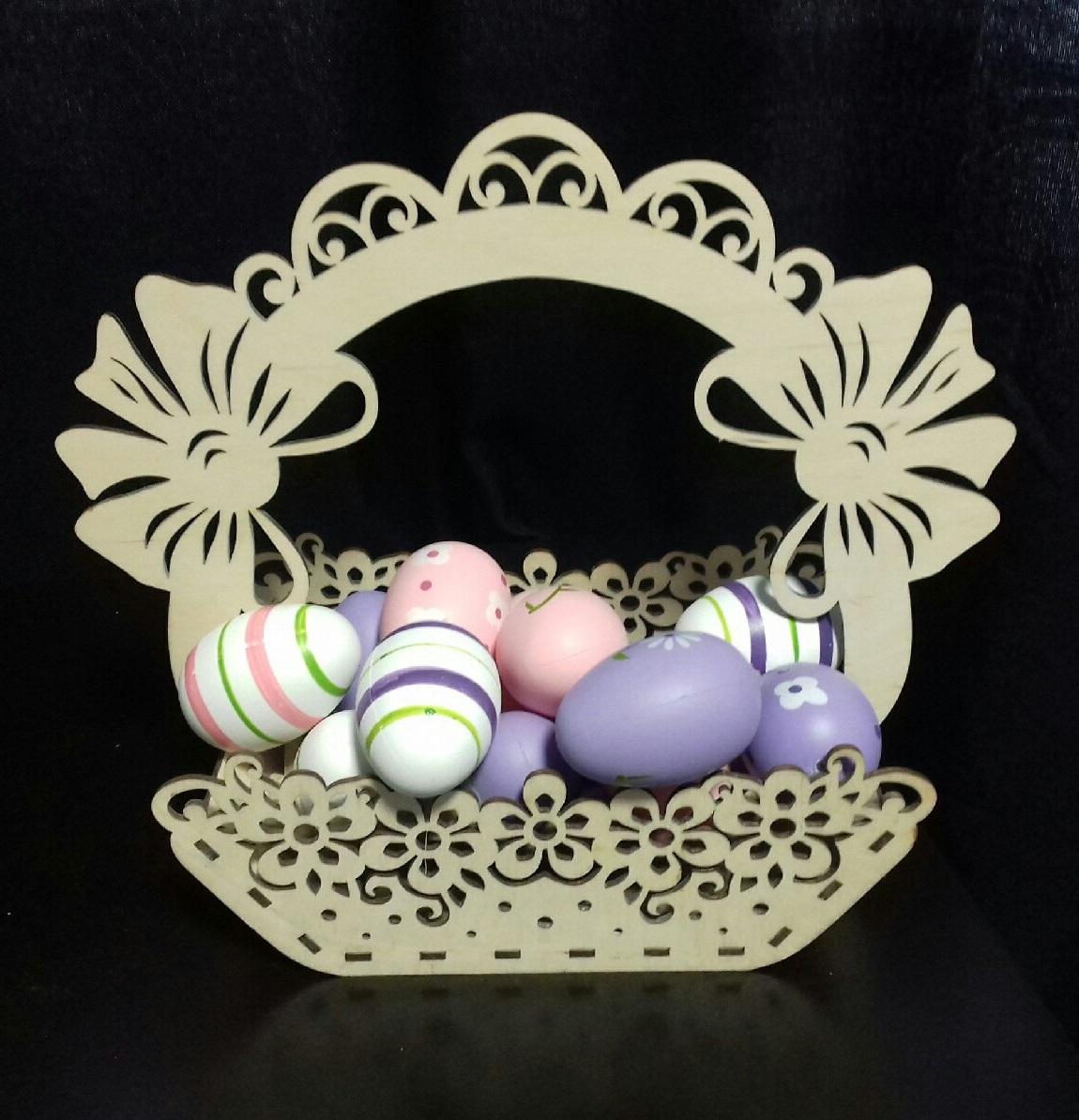 Wooden Decorative Easter Basket For Laser Cutting Free CDR Vectors Art