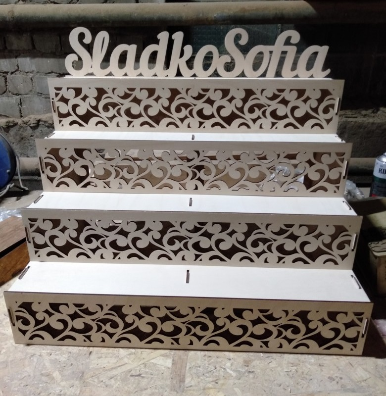 Laser Cut Wooden Counter Display Stand Cupcake Stand Free CDR Vectors Art