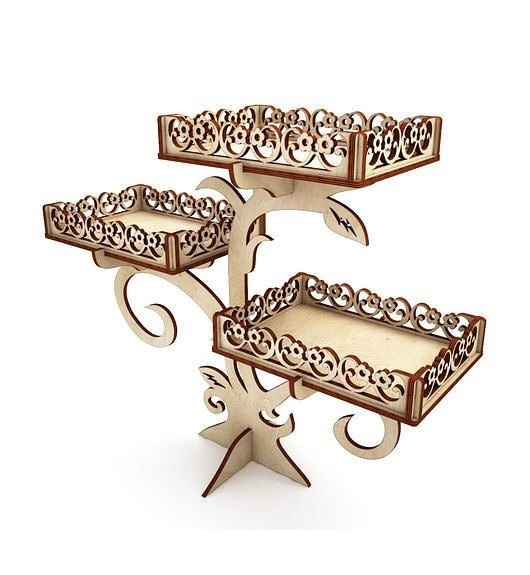 Laser Cut Wooden Decor Cupcake Stand Party Decoration Free CDR Vectors Art