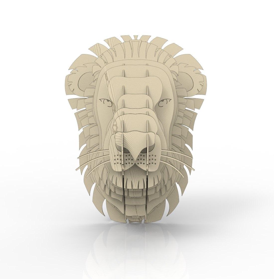 Laser Cut Lion Head Wall Decor Plywood 4mm Free CDR Vectors Art