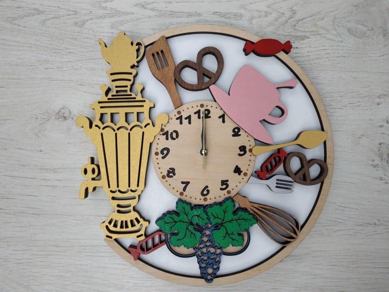 Samovar Wooden Wall Clock For Laser Cut Free CDR Vectors Art