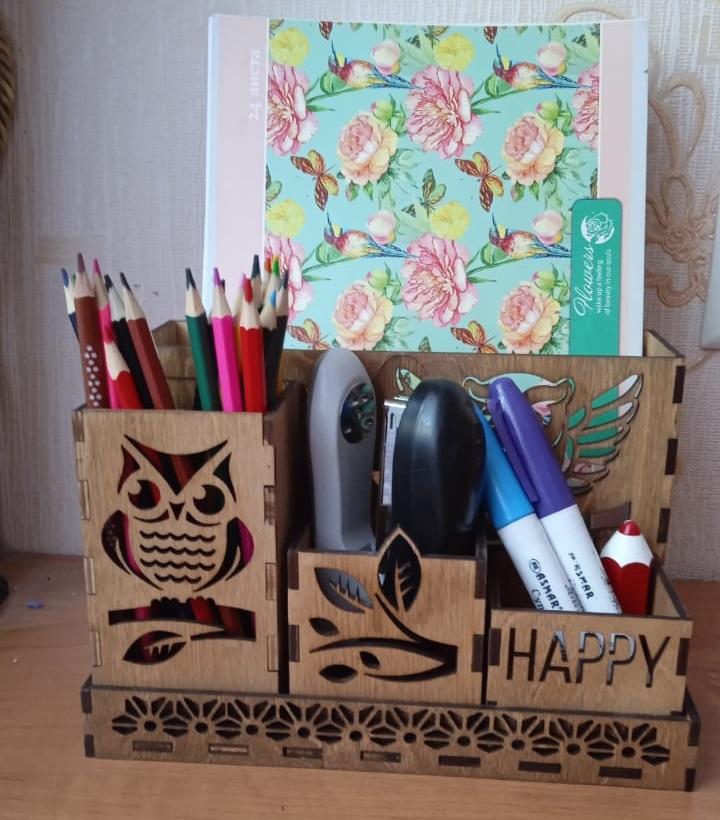 Owl Wooden Desk Organizer For Laser Cut Free CDR Vectors Art