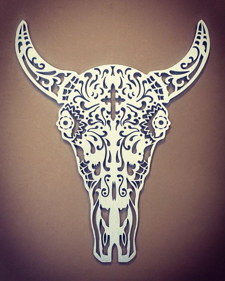 Laser Cut Bull Skeleton Drawing Free DXF File