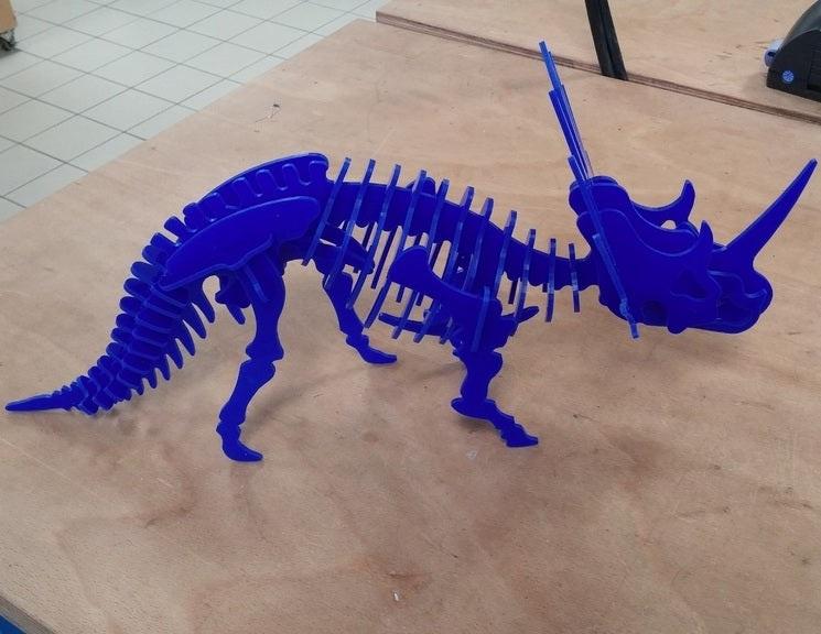 Laser Cut Styracosaurus Dinosaur 3d Puzzle 3mm Free DXF File