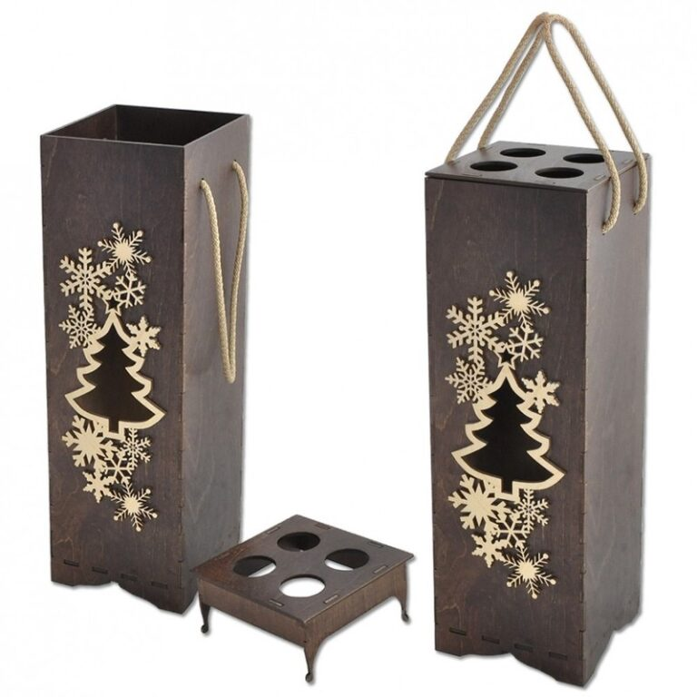 Decorative Wine Bottle Packaging Gift Boxes For Laser Cut Free CDR Vectors Art