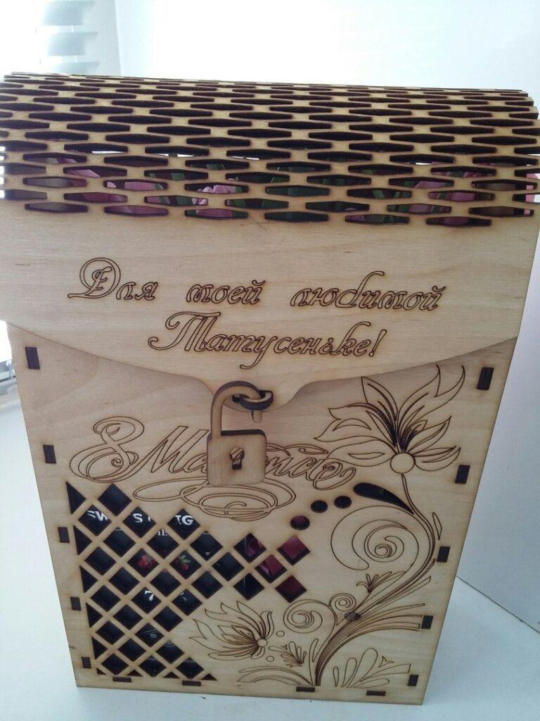 Decorative Wine Box 3mm Plywood For Laser Cut Free CDR Vectors Art